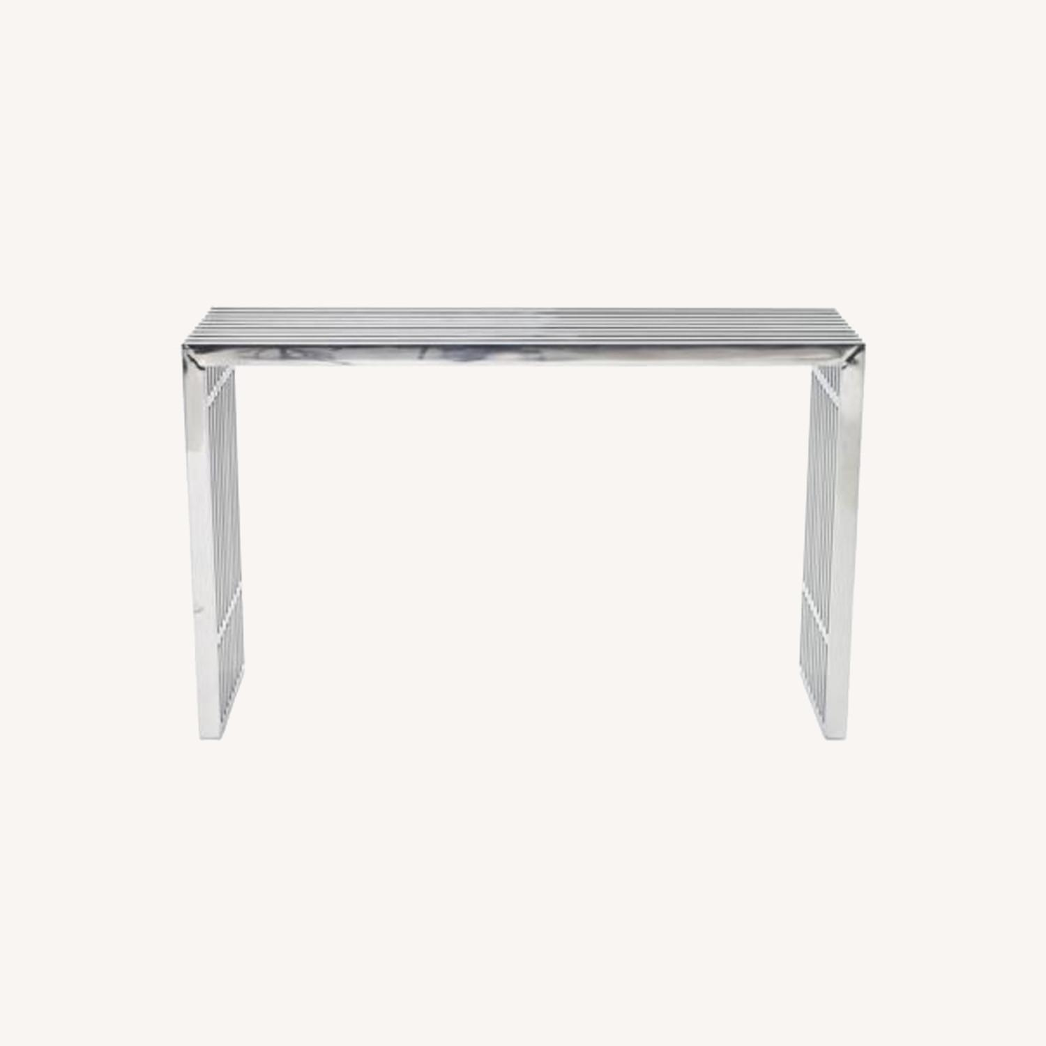 Modern Console Table In Silver Stainless Finish - image-5