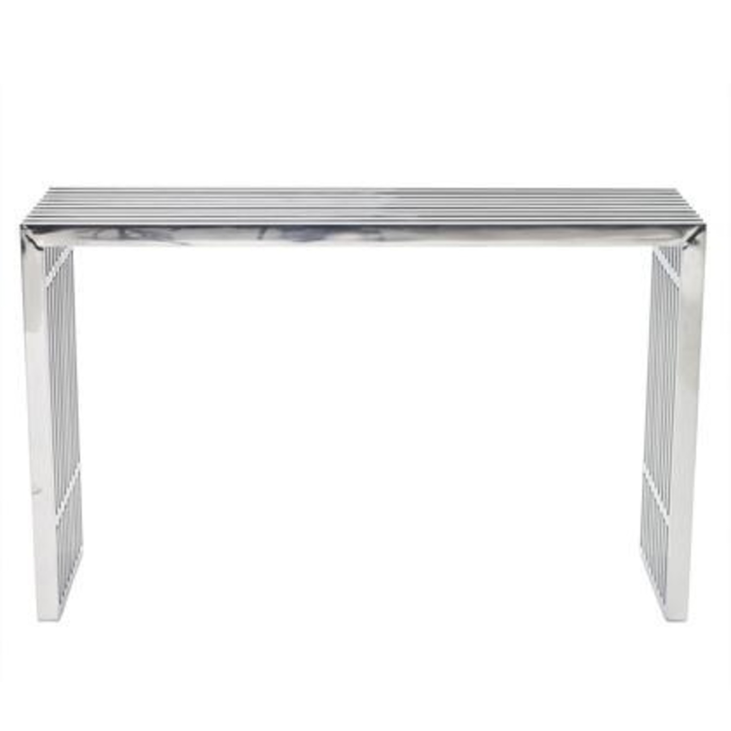 Modern Console Table In Silver Stainless Finish - image-0
