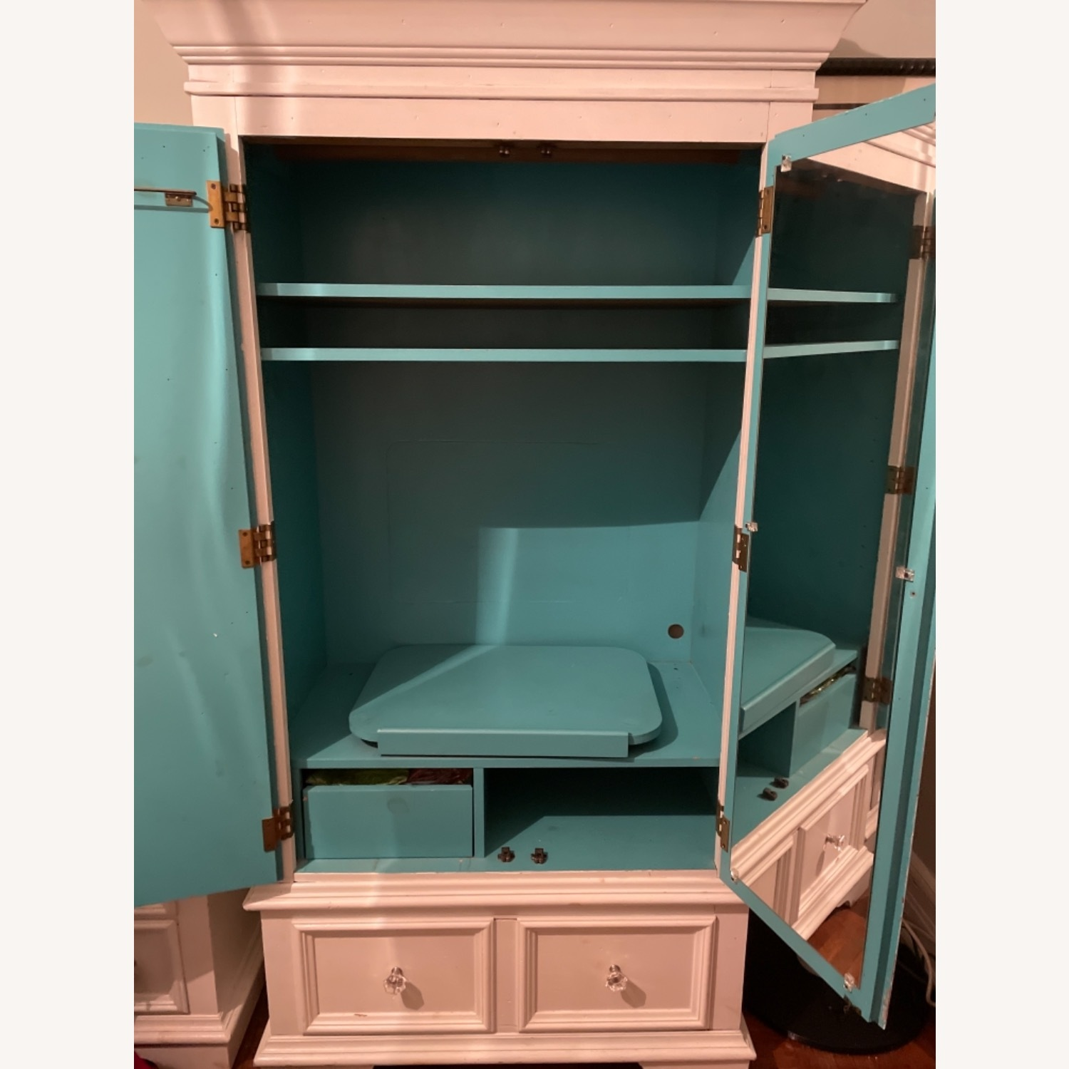 White with Interior Teal Armoire - image-5