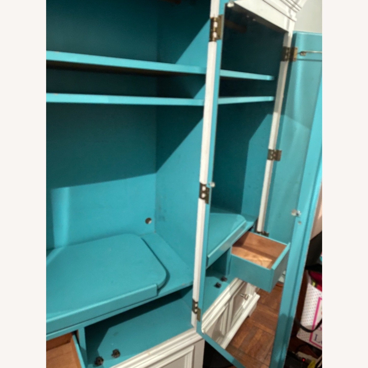 White with Interior Teal Armoire - image-13