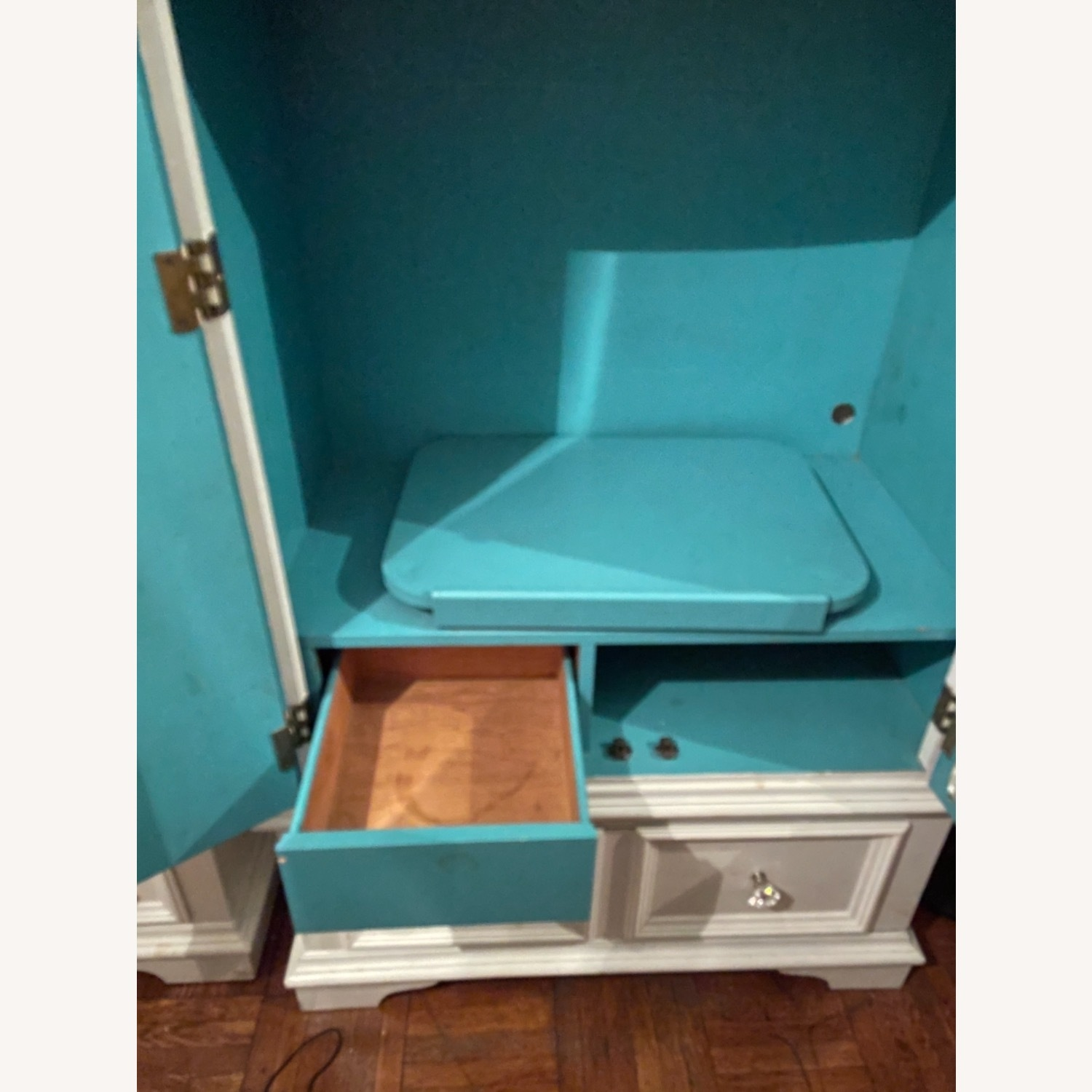 White with Interior Teal Armoire - image-17
