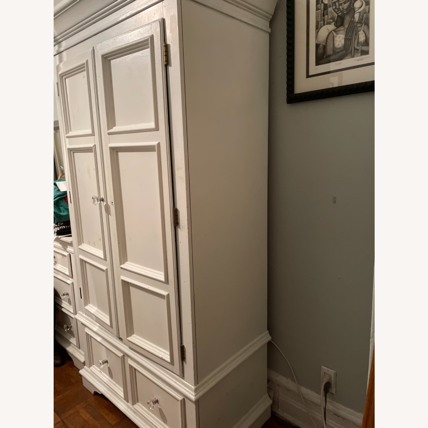 White with Interior Teal Armoire - image-2