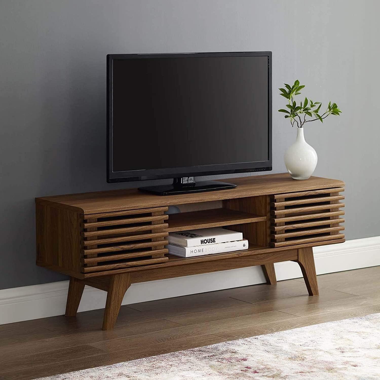 Mid-Century Style TV Stand In Walnut Grain Finish - image-5