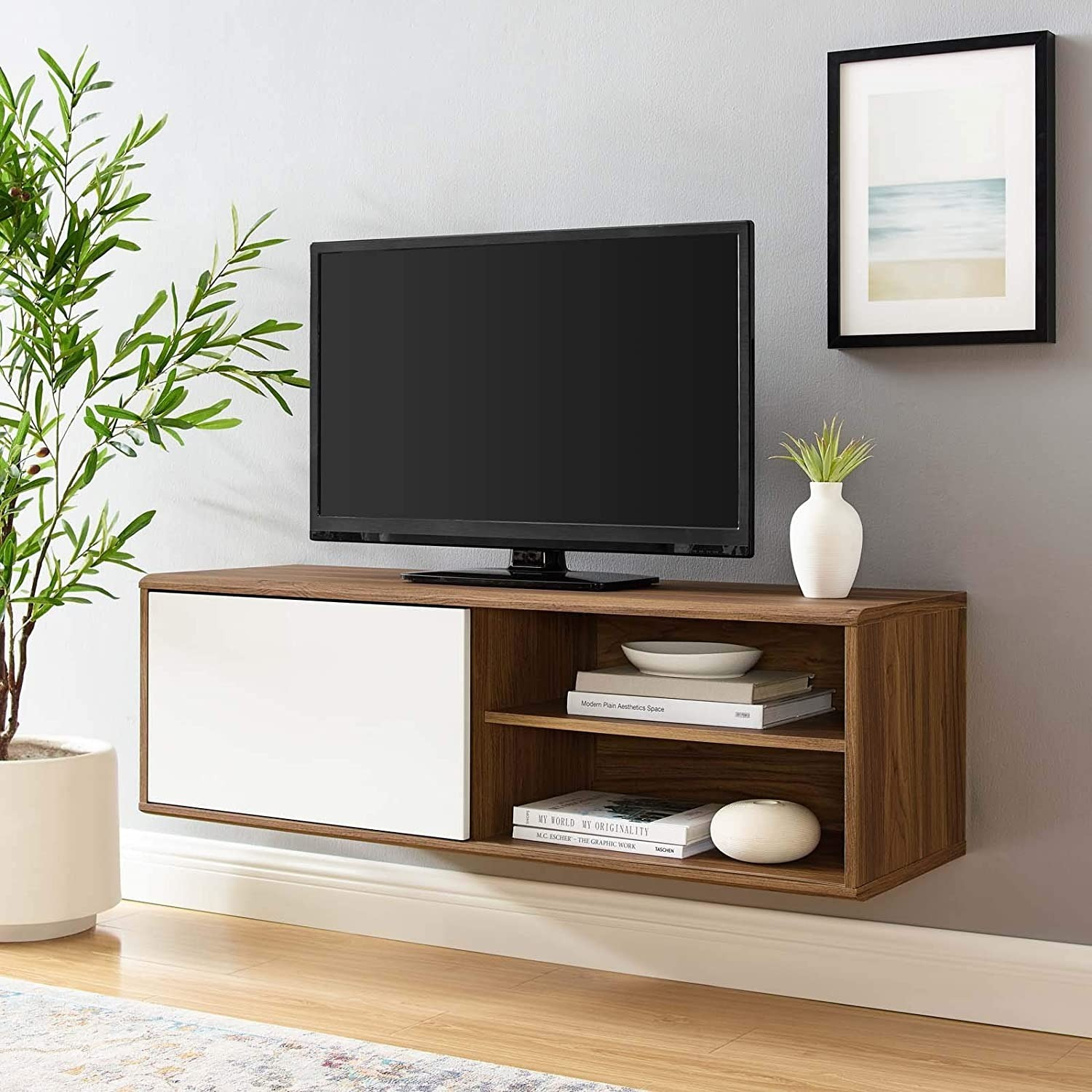 Mid-Century Style Wall Mount TV Stand In Walnut - image-6