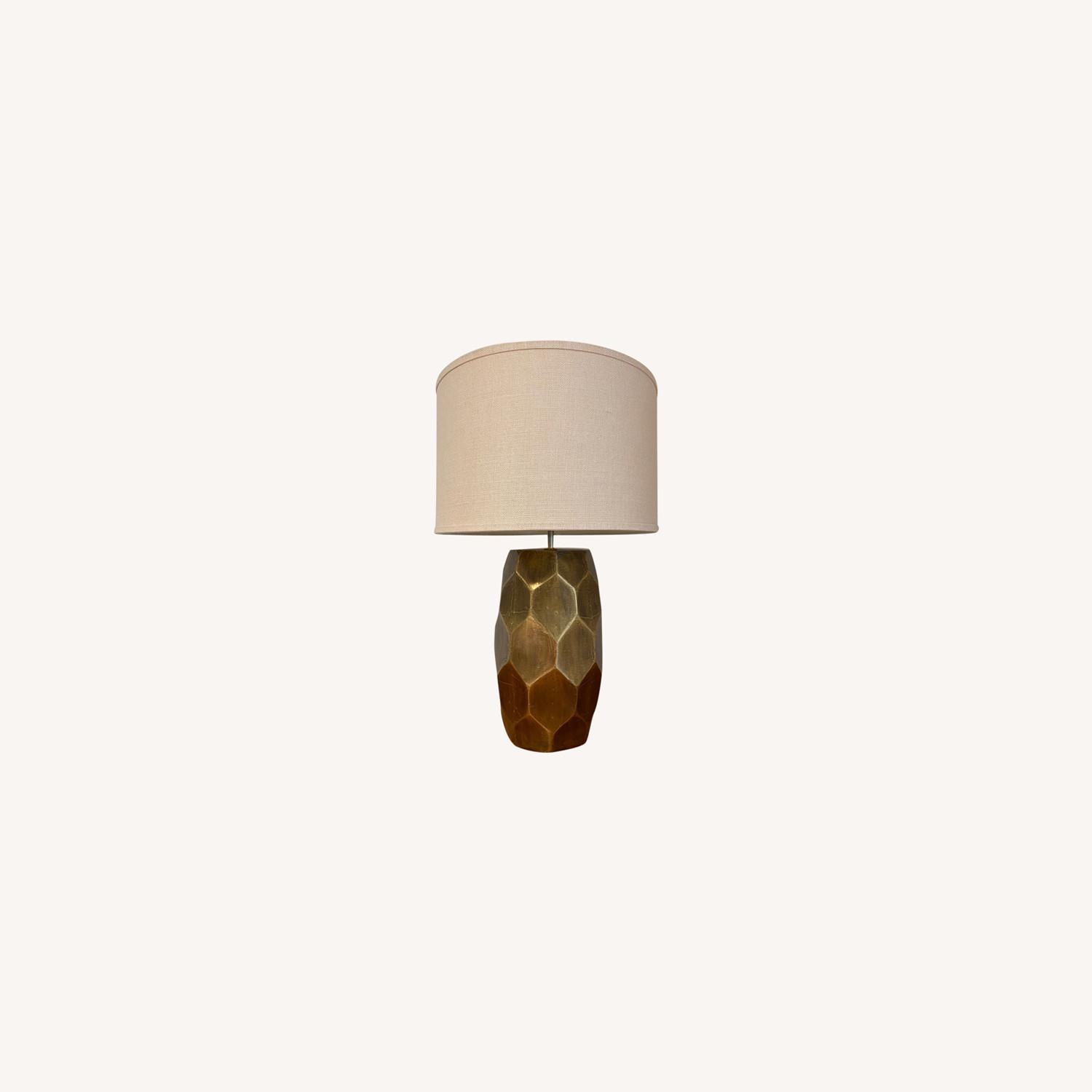 Pottery Barn Hammered Golden Honeycomb Lamps (2) - image-0