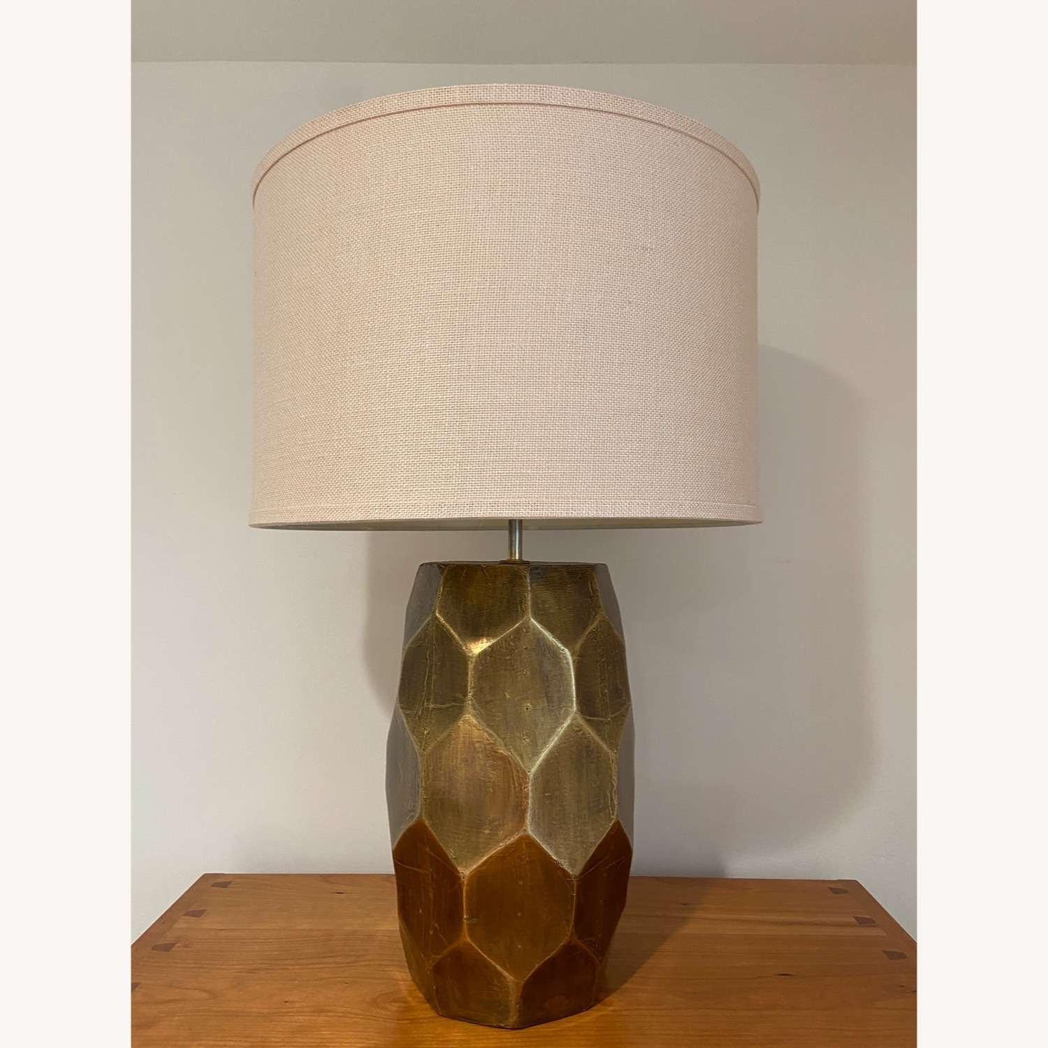 Pottery Barn Hammered Golden Honeycomb Lamps (2) - image-1