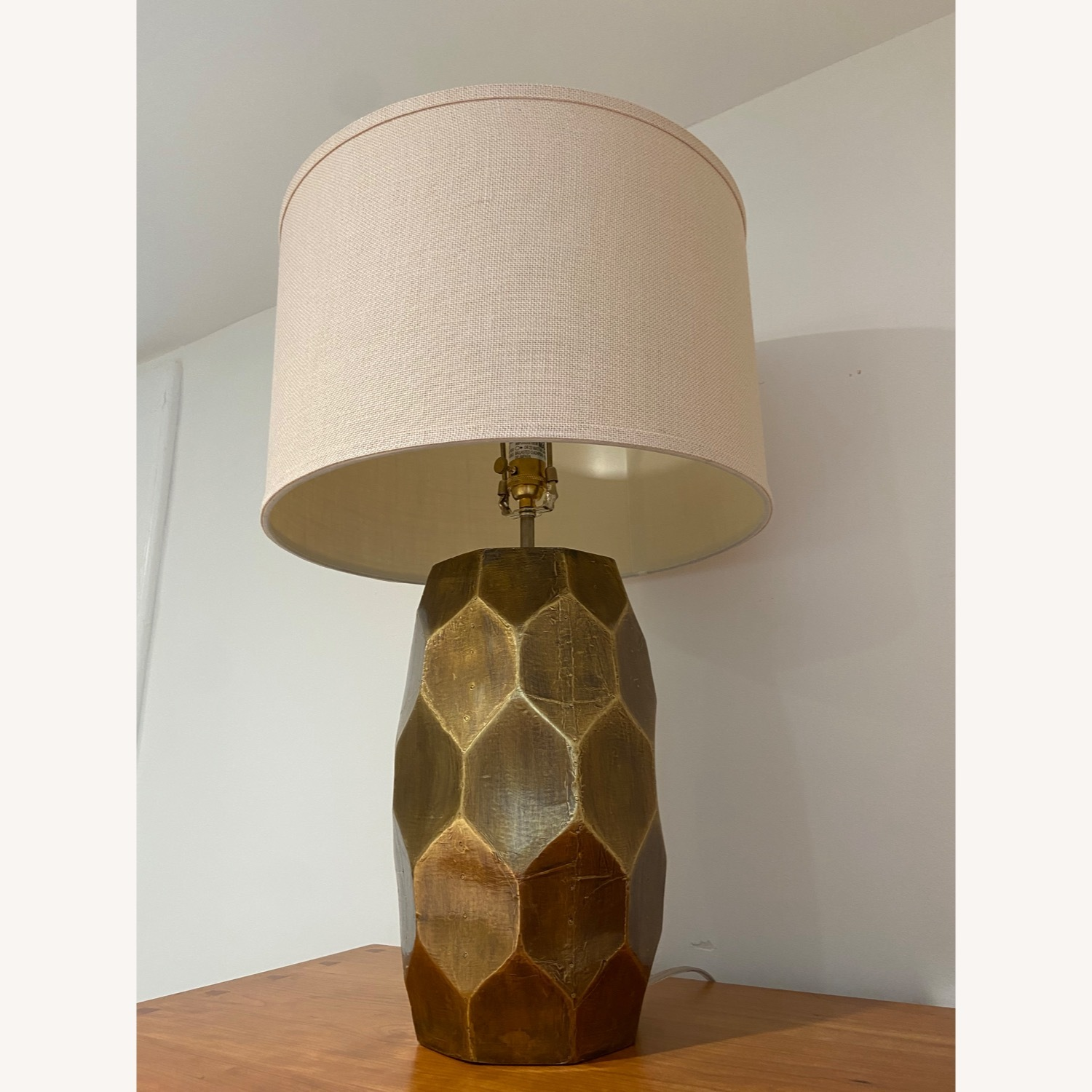 Pottery Barn Hammered Golden Honeycomb Lamps (2) - image-3