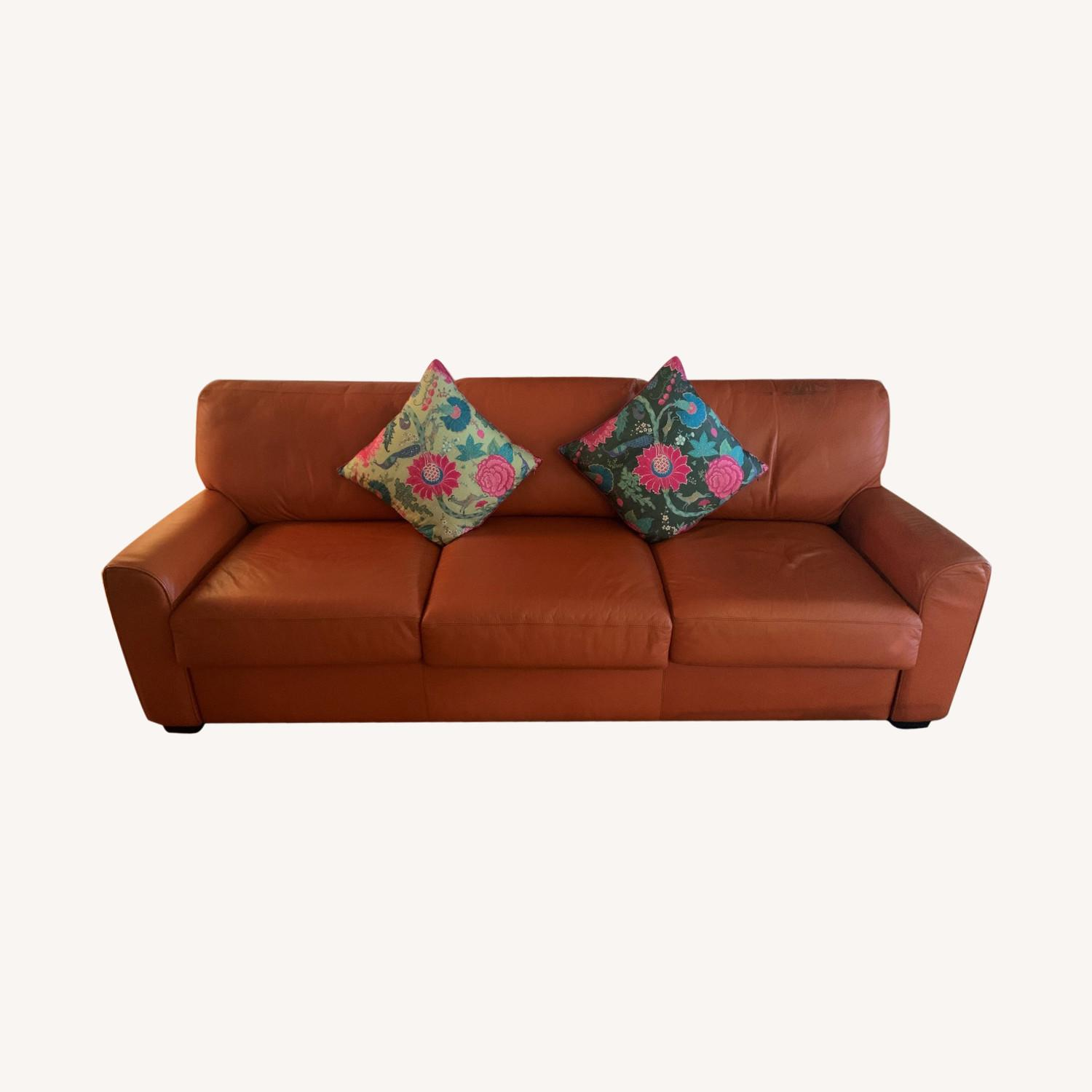 Orange Leather Sofa Bed (King) - image-0