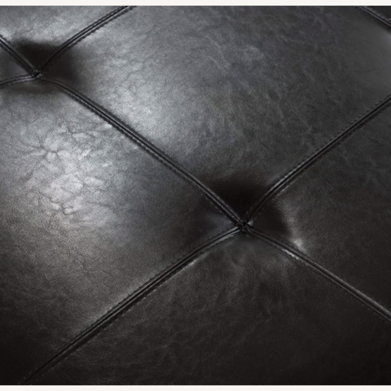 Mid Century Modern Faux Leather Storage Ottoman - image-2