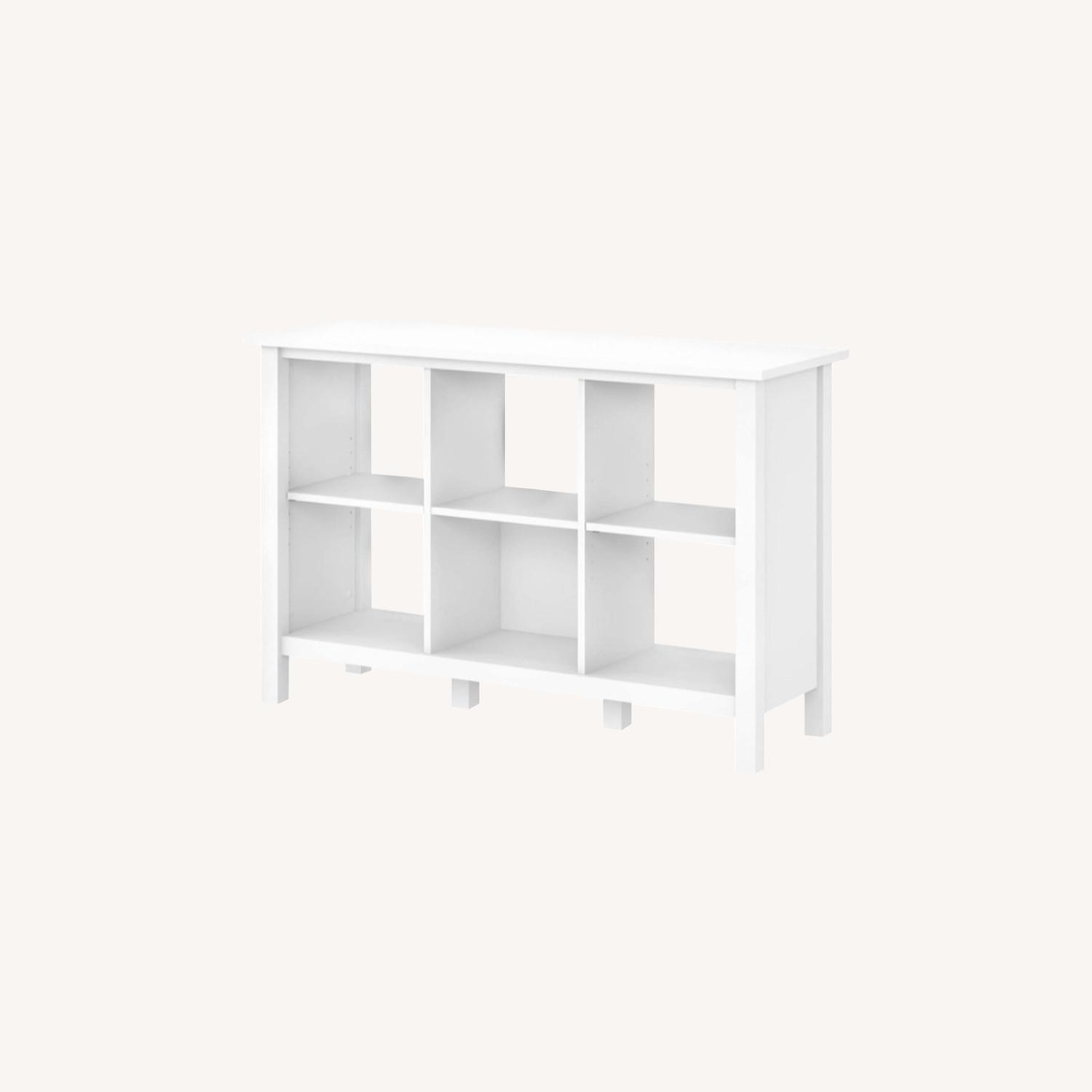 Modern Contemporary 6 Shelves White Wood Bookcase - image-0