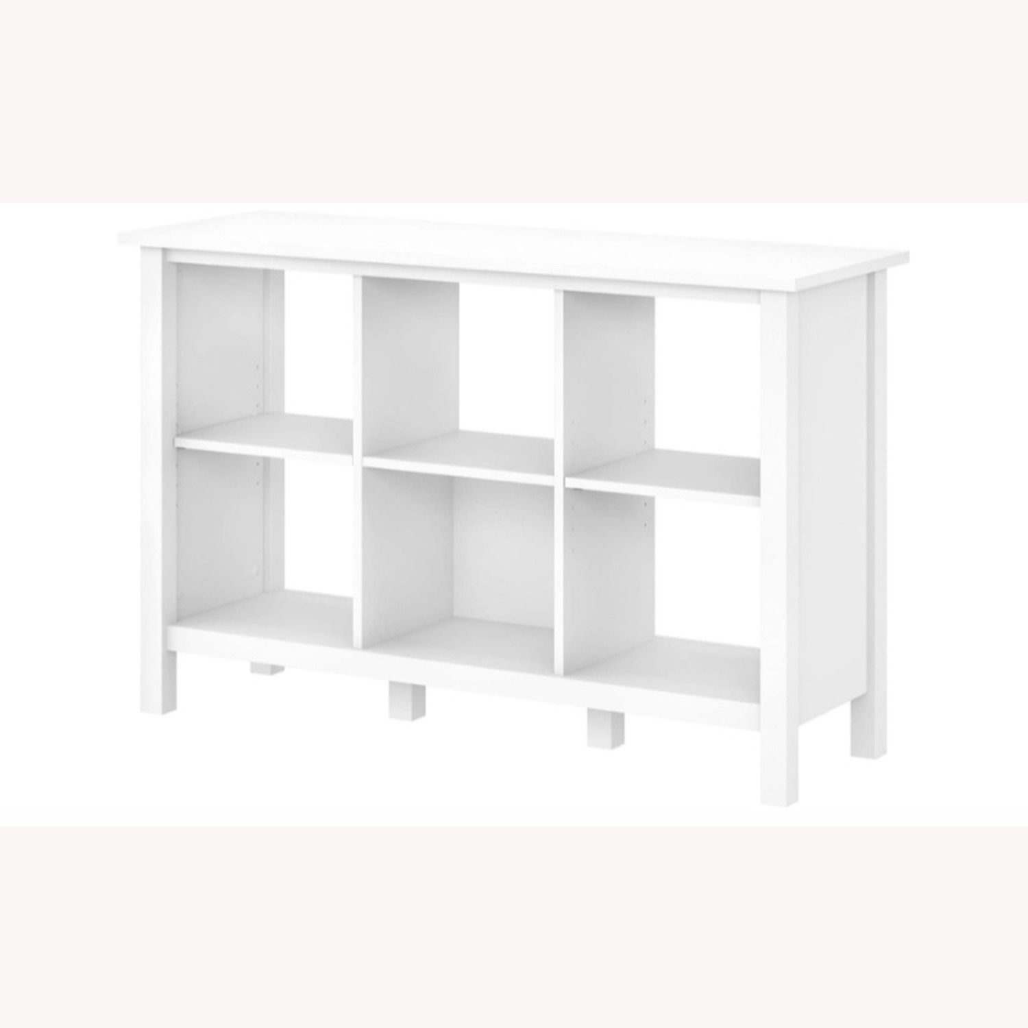 Modern Contemporary 6 Shelves White Wood Bookcase - image-1