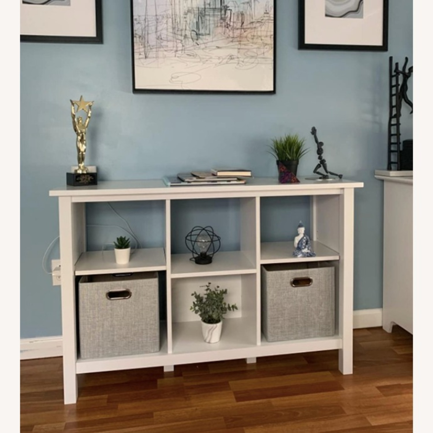 Modern Contemporary 6 Shelves White Wood Bookcase - image-3