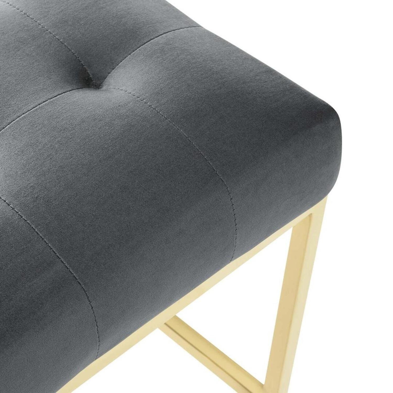 Glam Style Bar Stool In Charcoal Velvet Upholstery - image-4