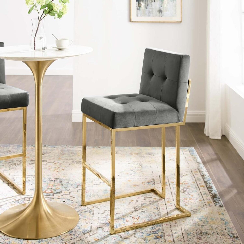 Glam Style Bar Stool In Charcoal Velvet Upholstery - image-7