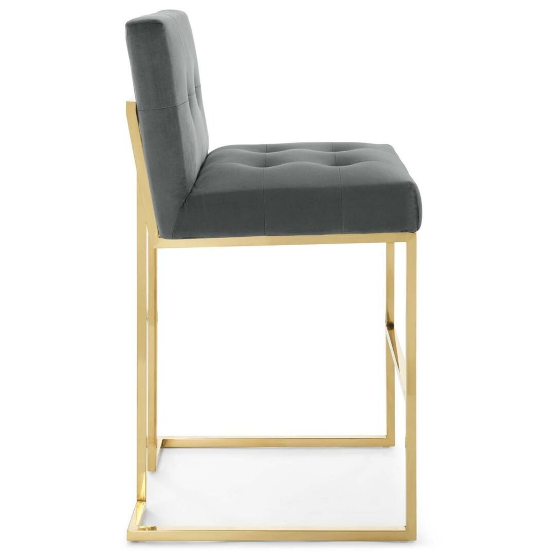 Glam Style Bar Stool In Charcoal Velvet Upholstery - image-1