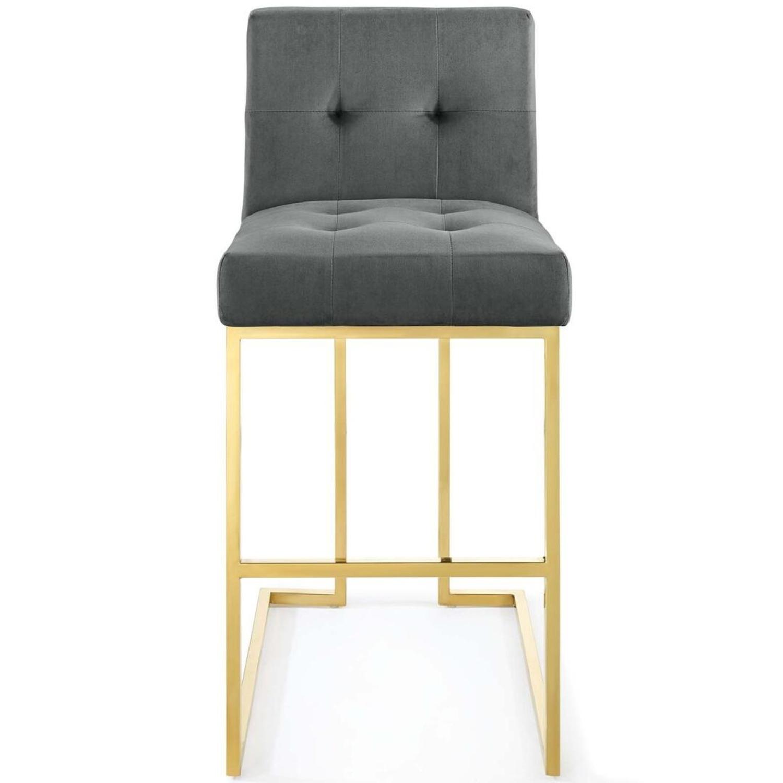Glam Style Bar Stool In Charcoal Velvet Upholstery - image-3
