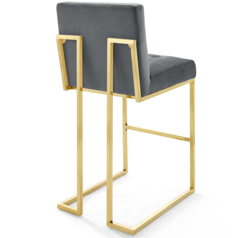 Glam Style Bar Stool In Charcoal Velvet Upholstery - image-2