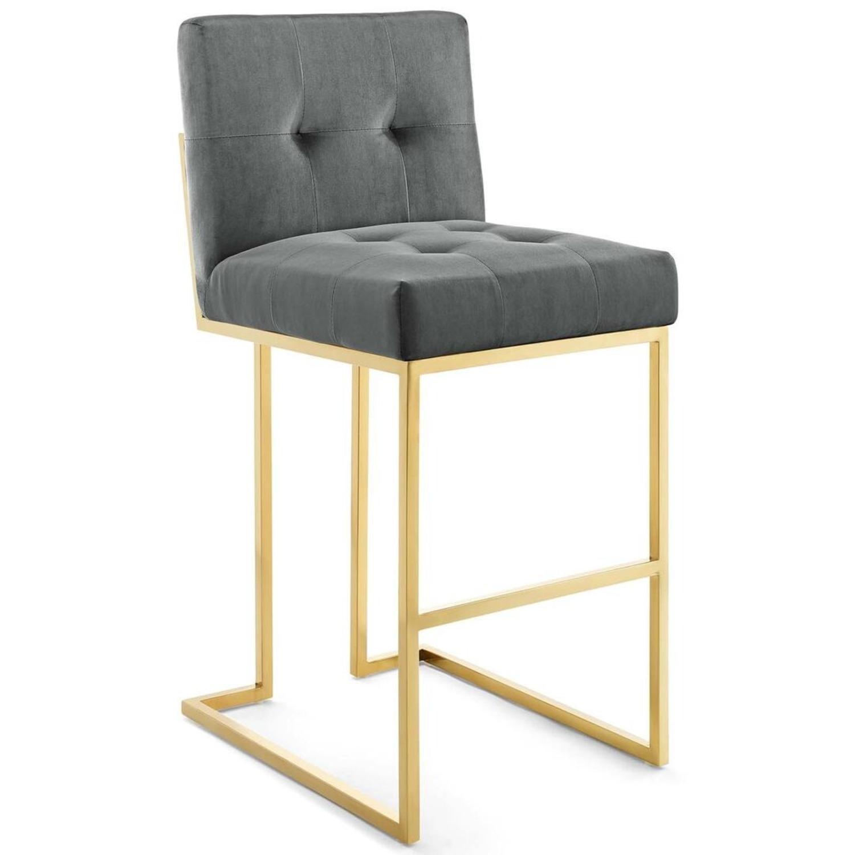 Glam Style Bar Stool In Charcoal Velvet Upholstery - image-0