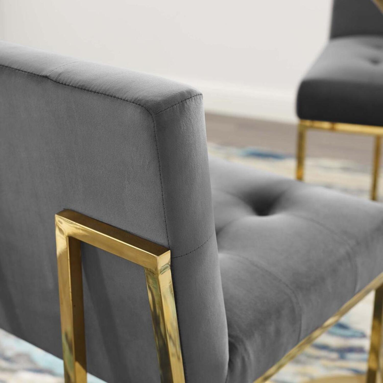 Glam Style Bar Stool In Charcoal Velvet Upholstery - image-6