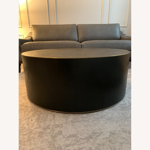 """Used Burke Dcor Dark Wood and Brass 40"""" Round Coffee Table for sale on AptDeco"""