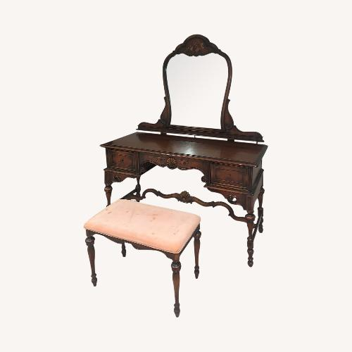 Used Berkey & Gay Furniture Co.Antique Desk With Mirror and Bench for sale on AptDeco