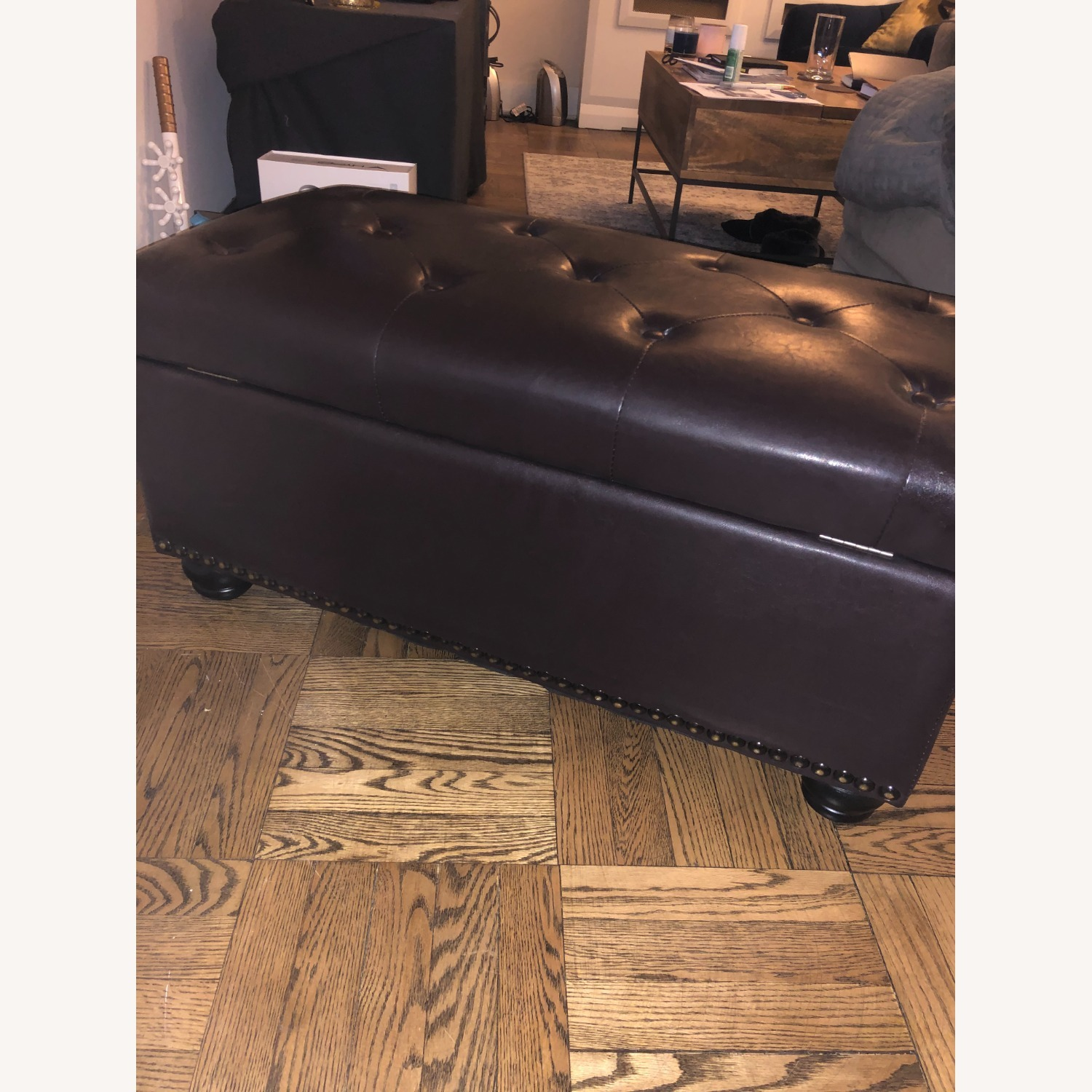 Brown Tufted Leather Storage Ottoman - image-3