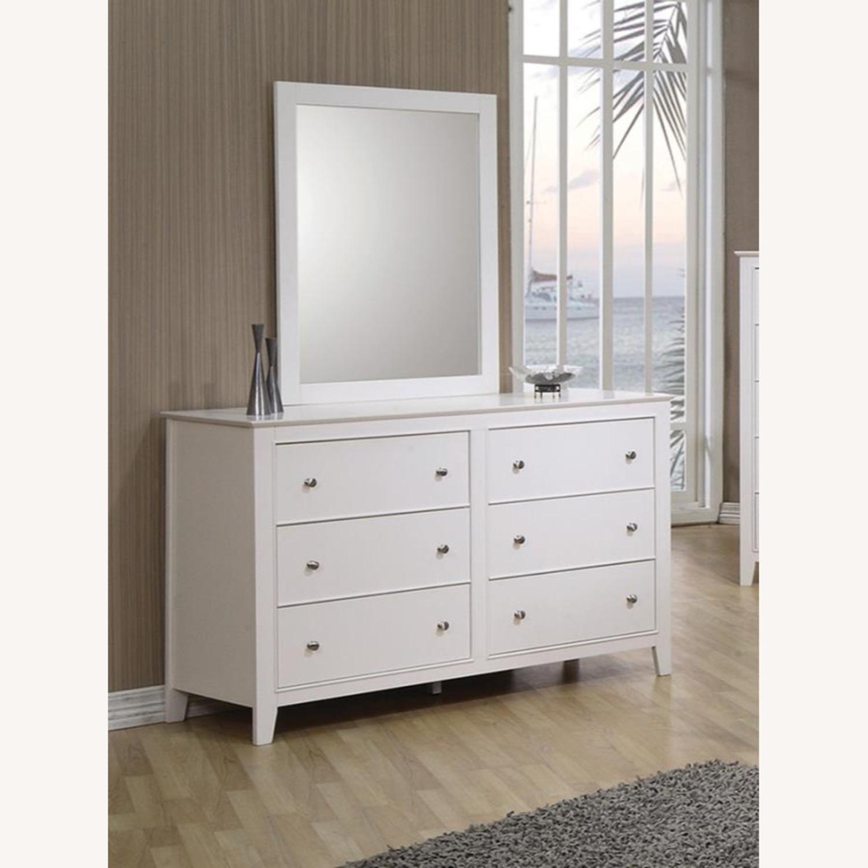 Versatile Design Mirror In White Wood Frame Finish - image-2