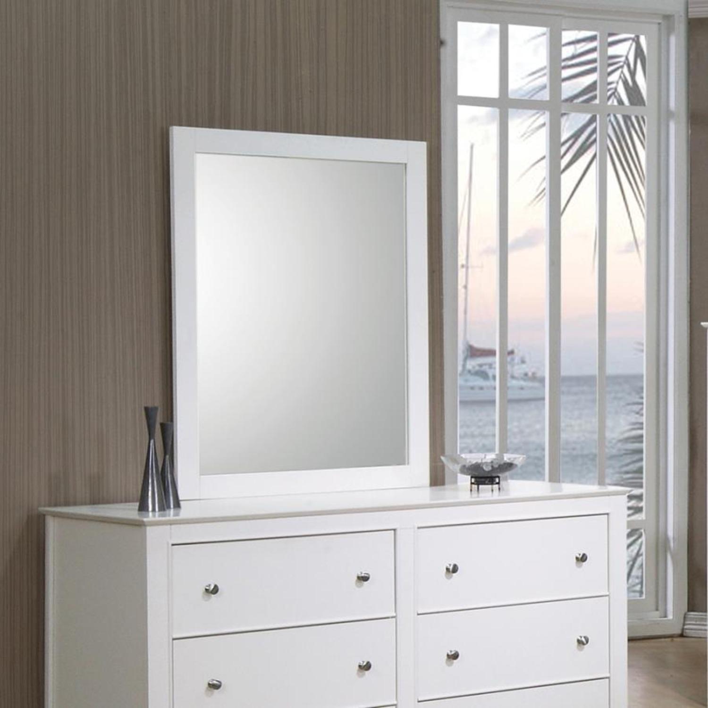 Versatile Design Mirror In White Wood Frame Finish - image-1
