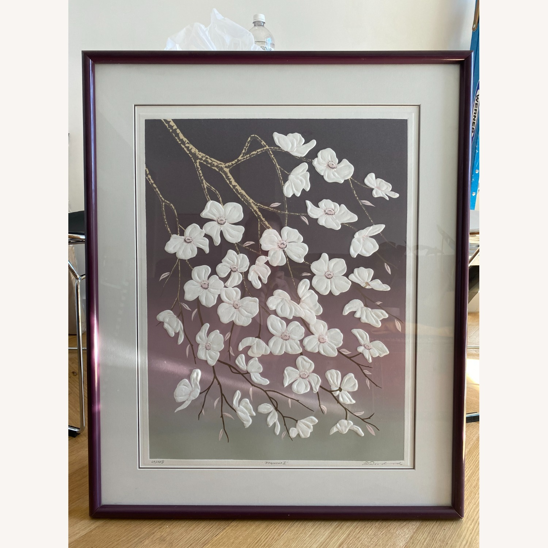 Vintage 1980s Floral Serigraph - image-5