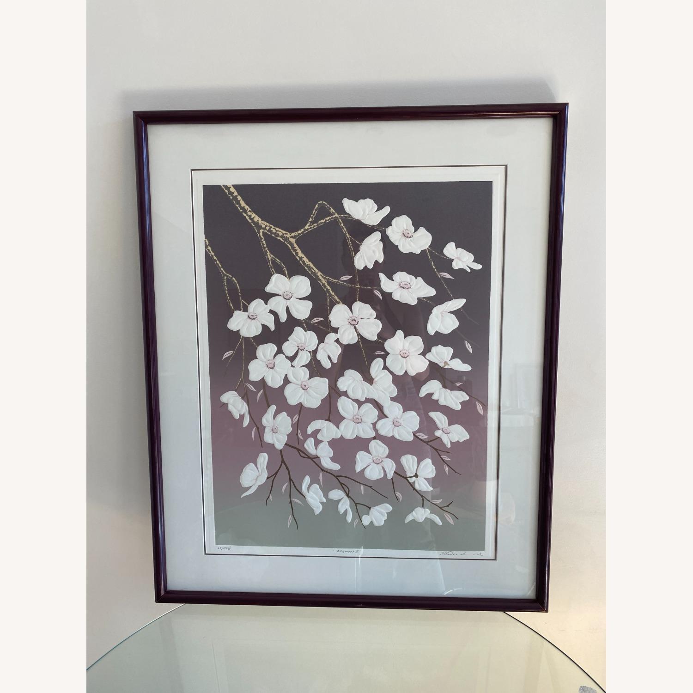 Vintage 1980s Floral Serigraph - image-1
