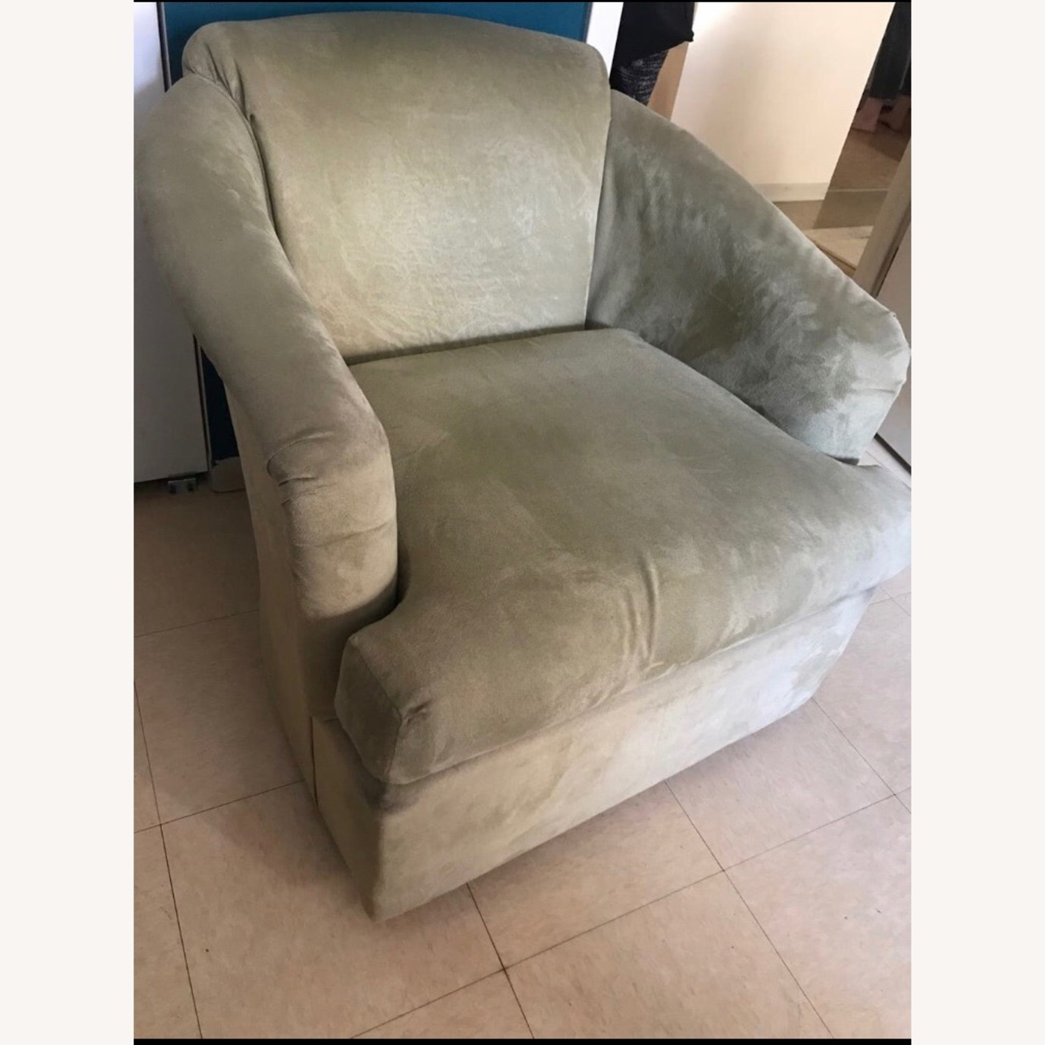 2 Light Green Microsuede Armchairs - image-2