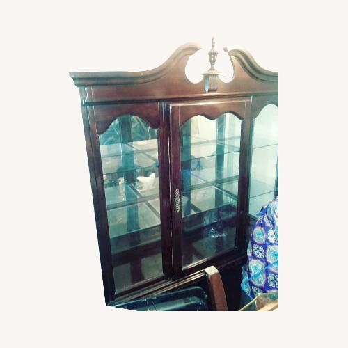 Used Vintage Wood and Glass Wall Unit for sale on AptDeco
