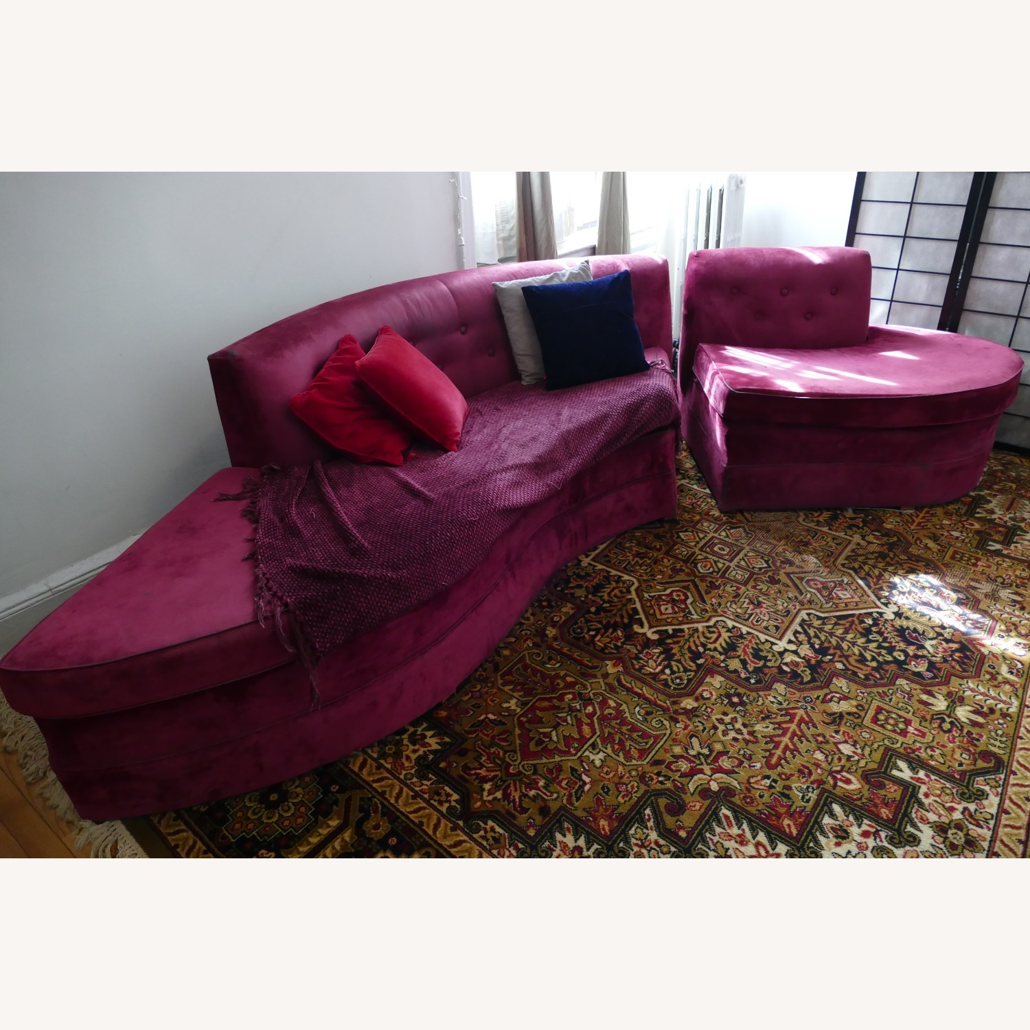 """Vintage 50's """"S""""-shaped 2-pc Sectional Sofa - image-2"""