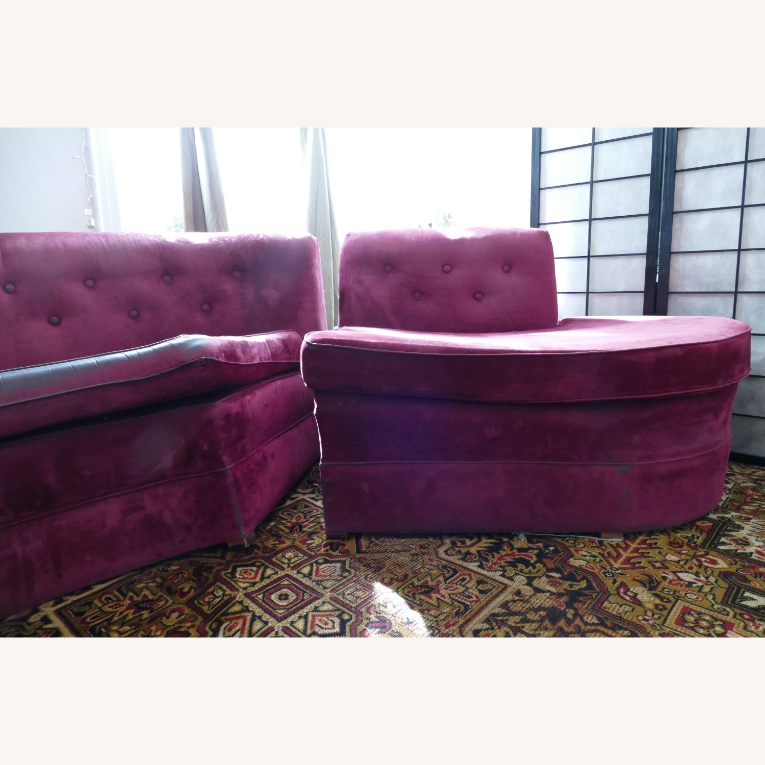 """Vintage 50's """"S""""-shaped 2-pc Sectional Sofa - image-19"""