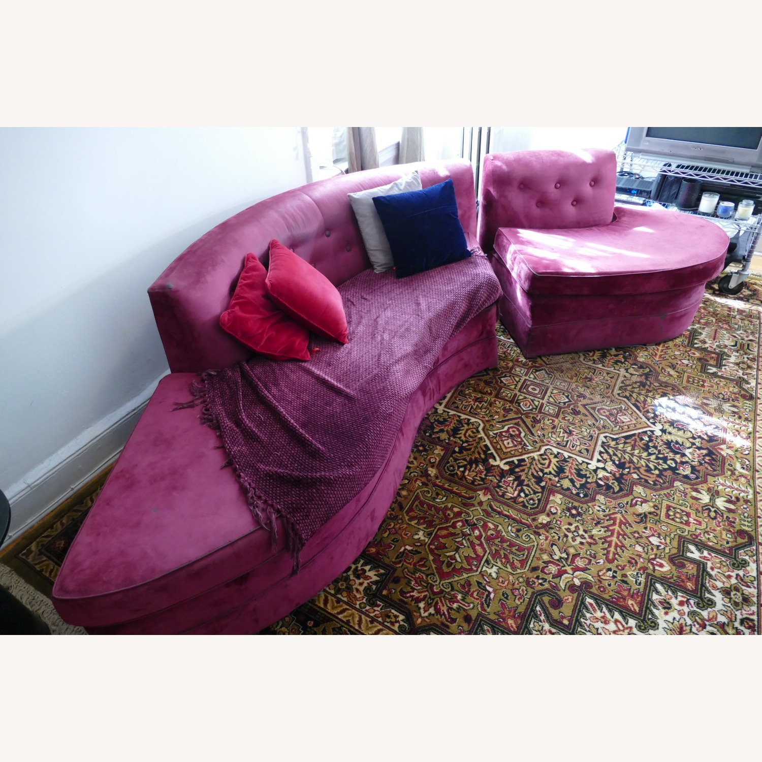 """Vintage 50's """"S""""-shaped 2-pc Sectional Sofa - image-5"""