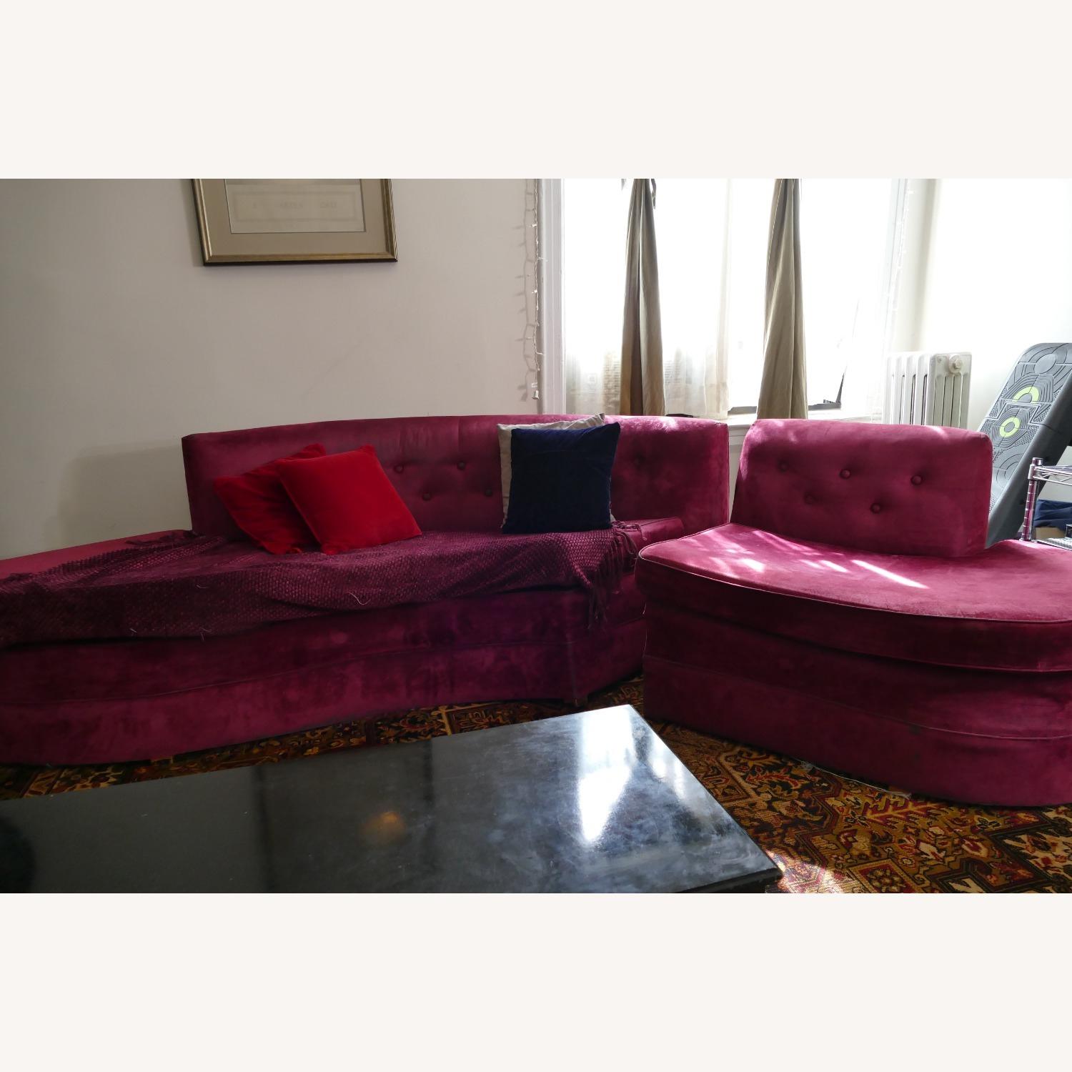 """Vintage 50's """"S""""-shaped 2-pc Sectional Sofa - image-4"""
