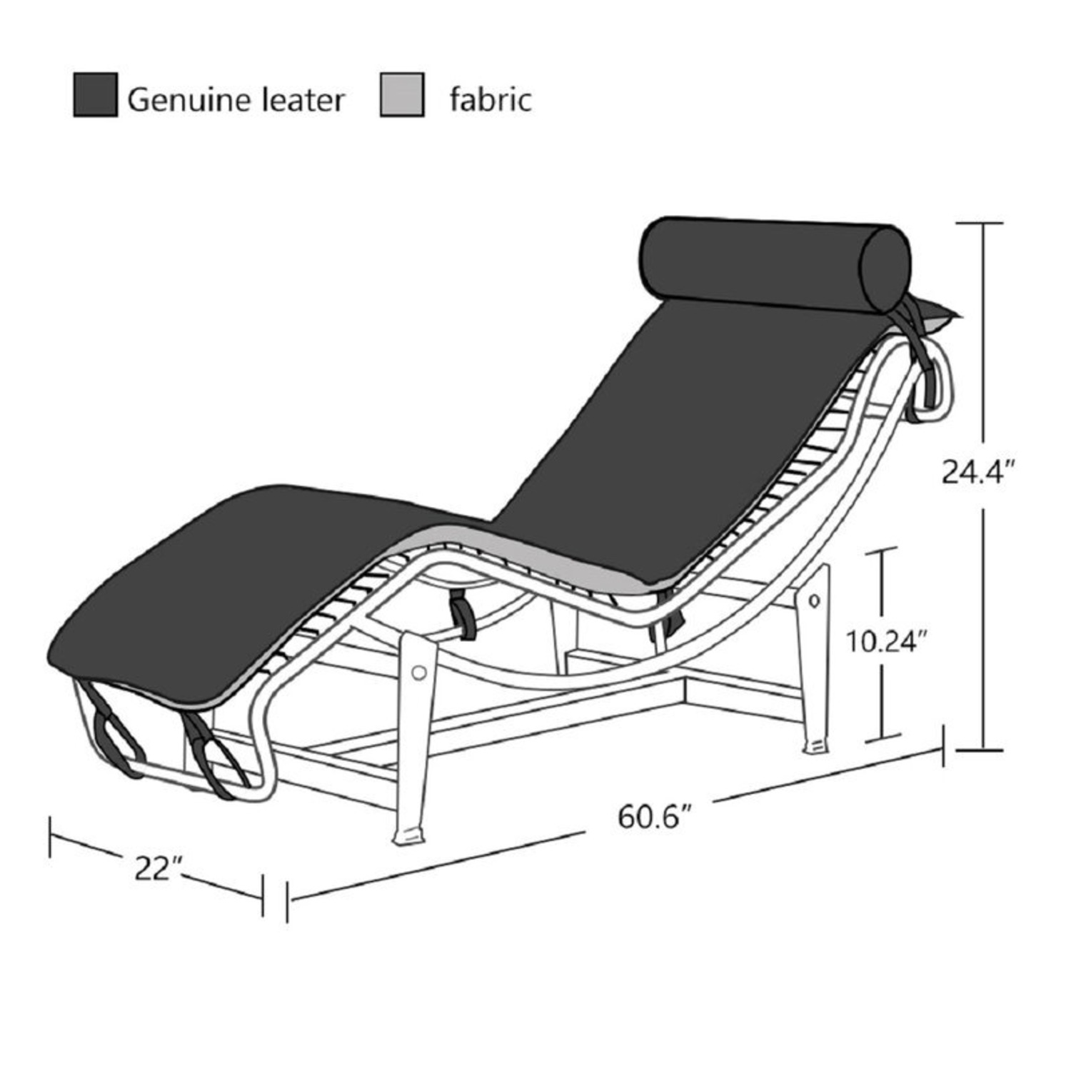 Recliner Leather Chaise Lounger - image-3