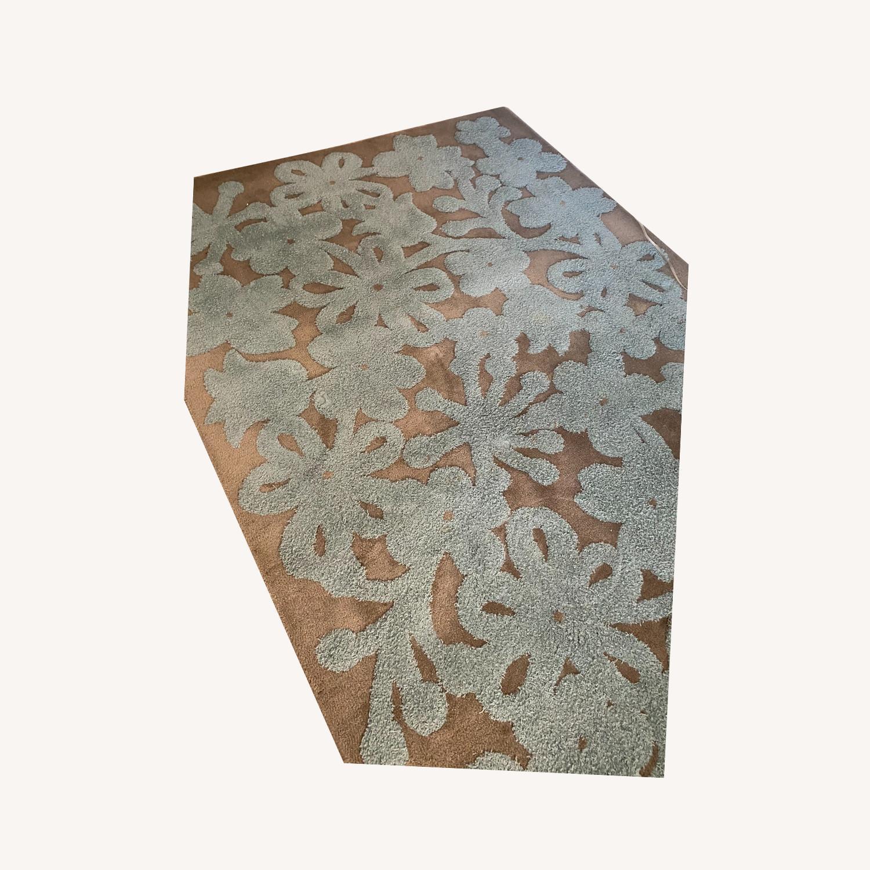 Grey/Turquoise Handwoven Wool Area Rug - image-0
