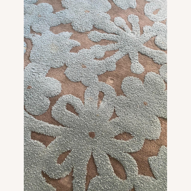 Grey/Turquoise Handwoven Wool Area Rug - image-2