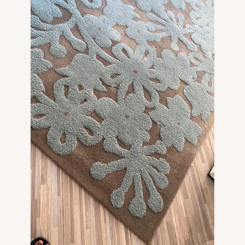 Grey/Turquoise Handwoven Wool Area Rug - image-4