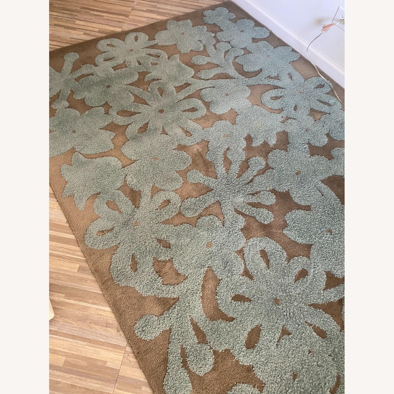 Grey/Turquoise Handwoven Wool Area Rug - image-1