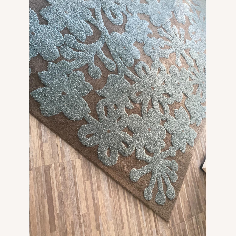 Grey/Turquoise Handwoven Wool Area Rug - image-3