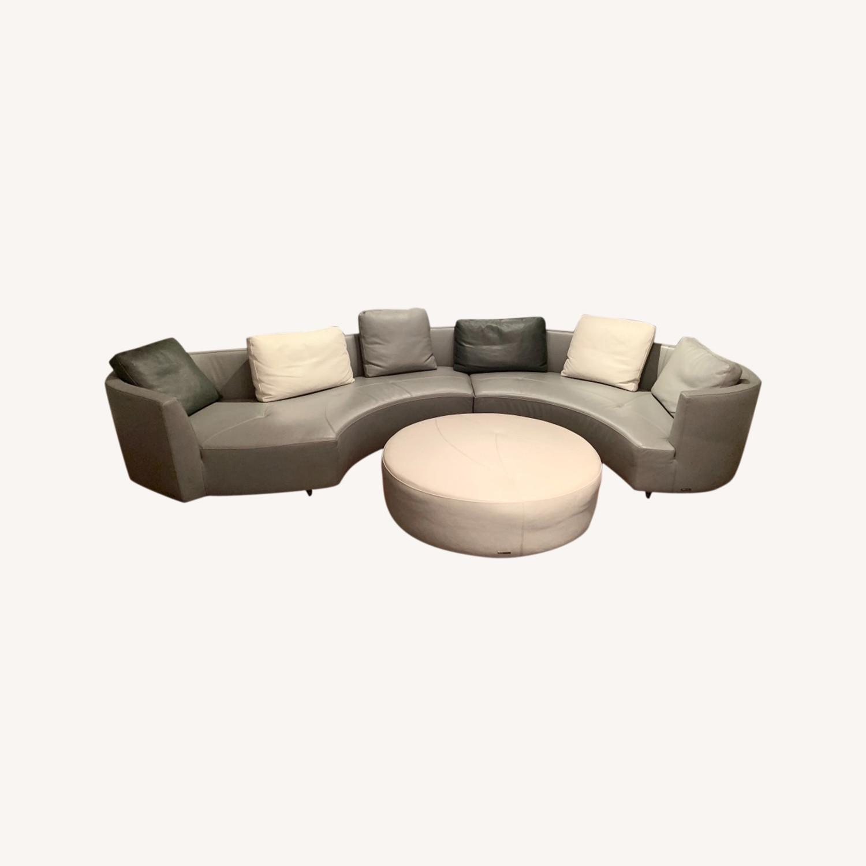 Roche Bobois Grey Round Sofa - image-0