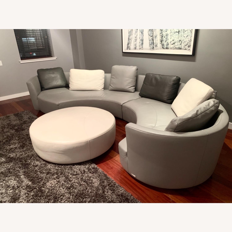 Roche Bobois Grey Round Sofa - image-1