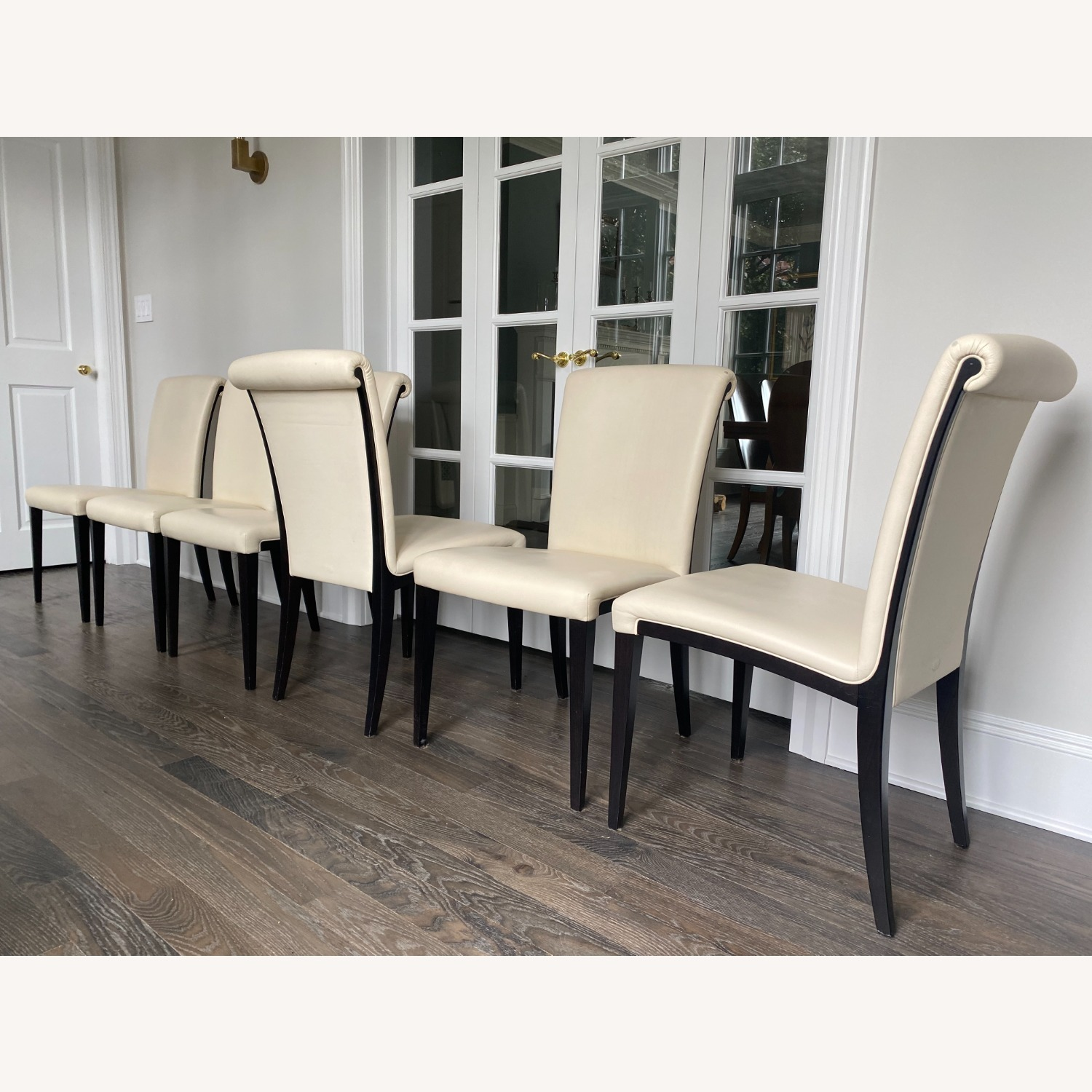 Poltrona Frau set of 6 Leather Dining Chairs - image-3