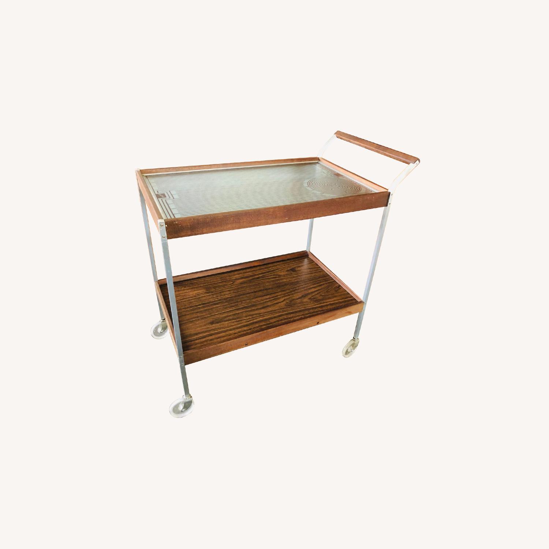 Mid Century Bar Cart Teak Glass Top - image-0