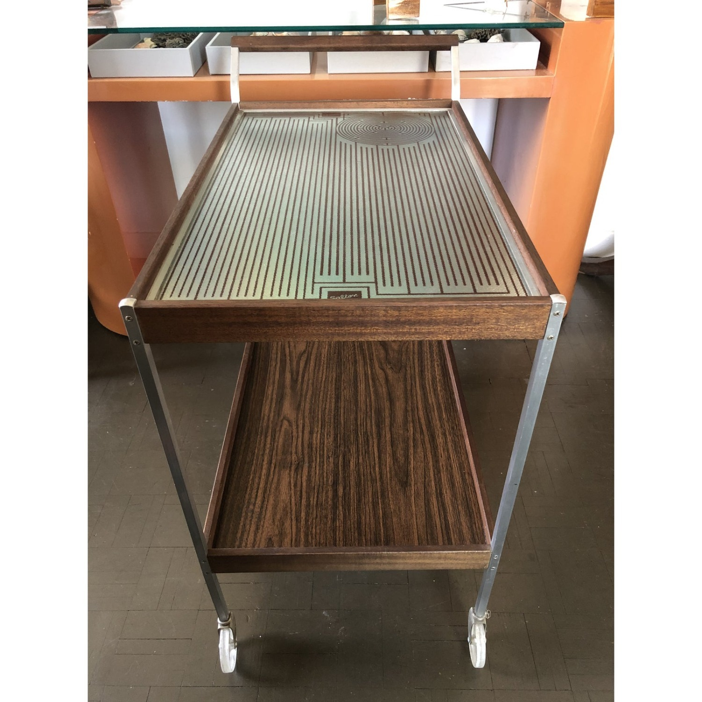 Mid Century Bar Cart Teak Glass Top - image-3