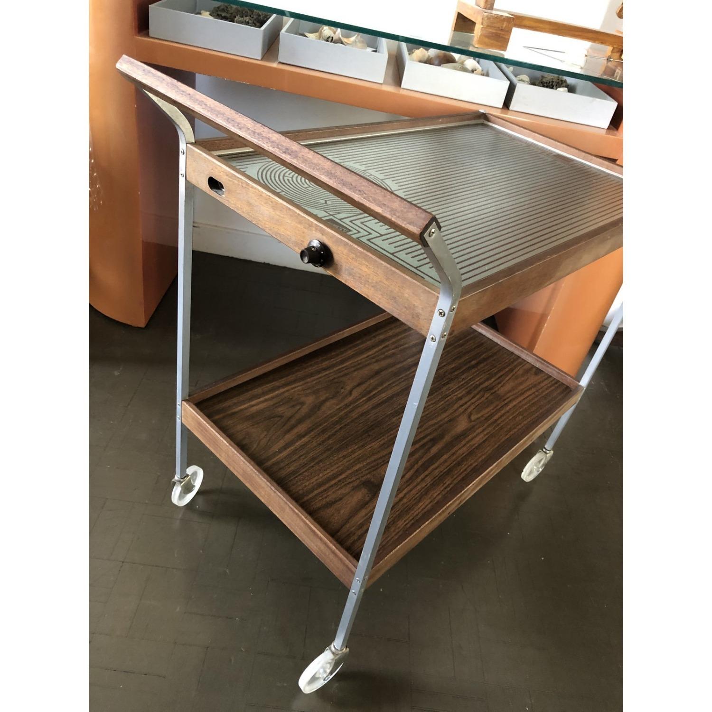 Mid Century Bar Cart Teak Glass Top - image-5