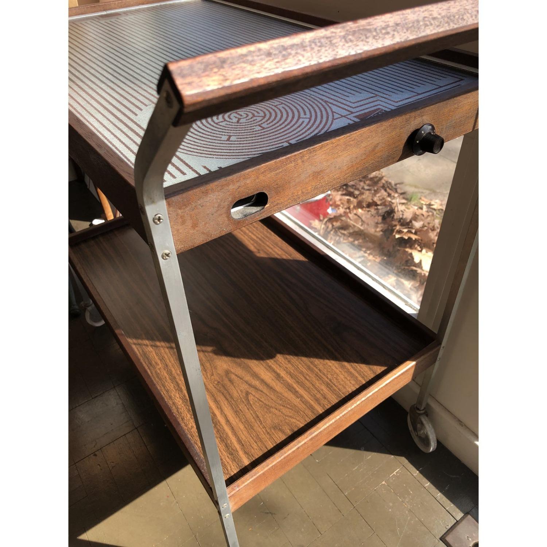 Mid Century Bar Cart Teak Glass Top - image-6