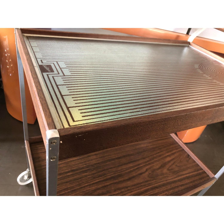 Mid Century Bar Cart Teak Glass Top - image-4